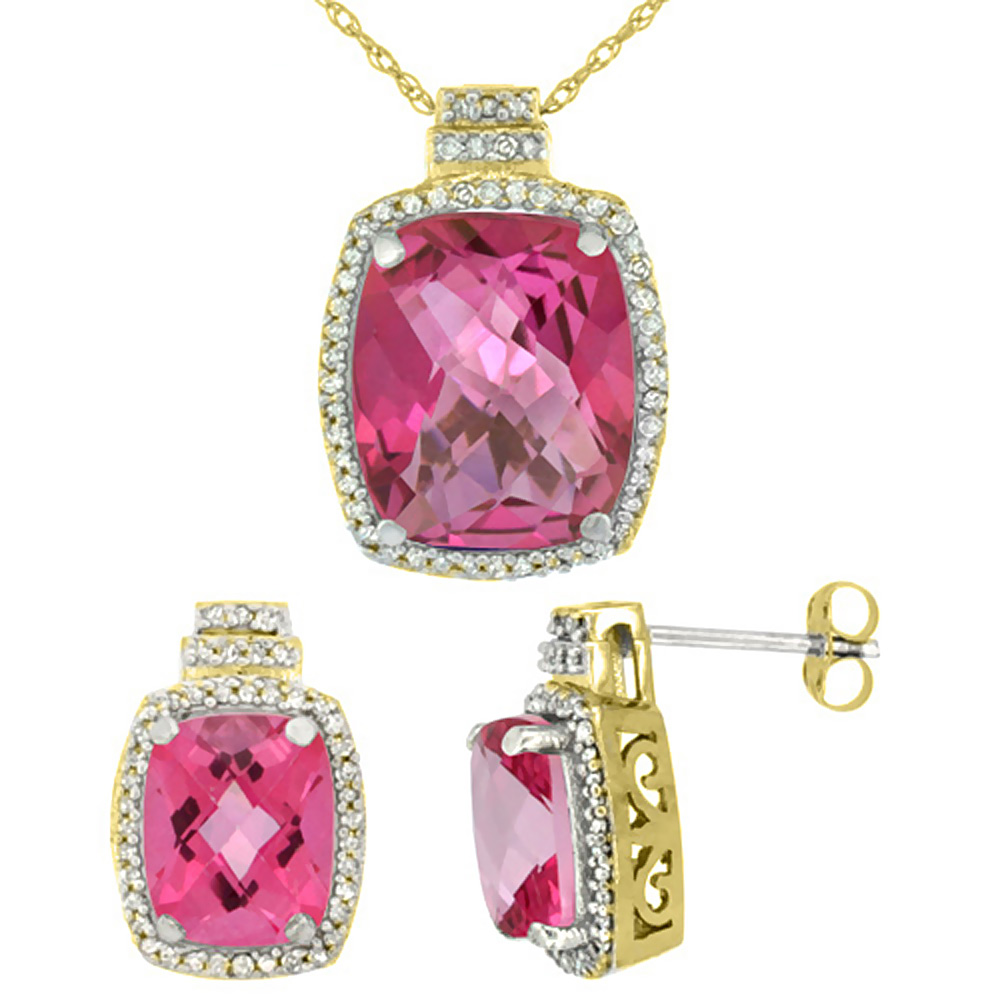 10K Yellow Gold Diamond Natural Pink Topaz 8x6mm Earrings & 11x9mm Pendant Set Octagon Cushion