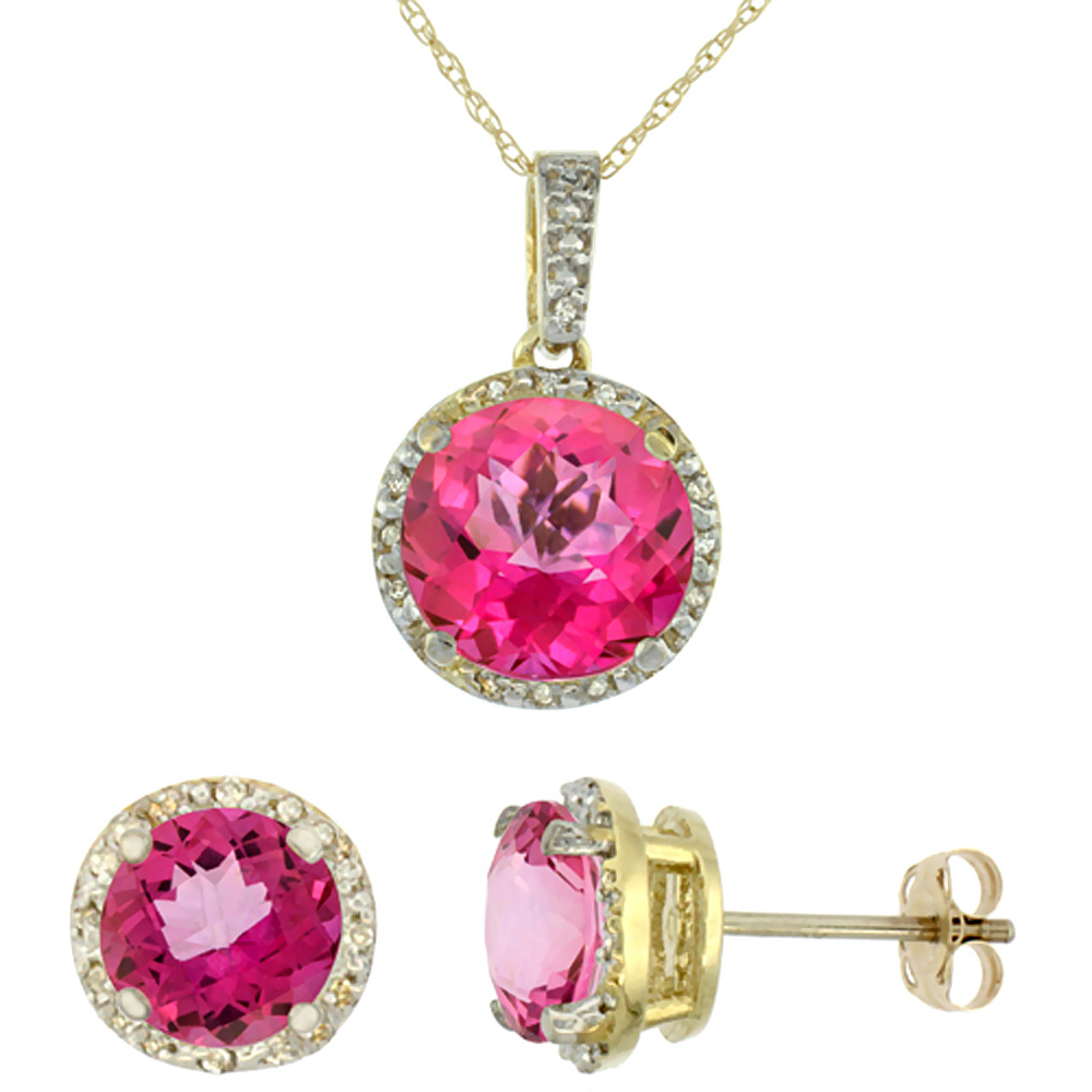 10K Yellow Gold Natural Round Pink Topaz Earrings & Pendant Set Diamond Accents
