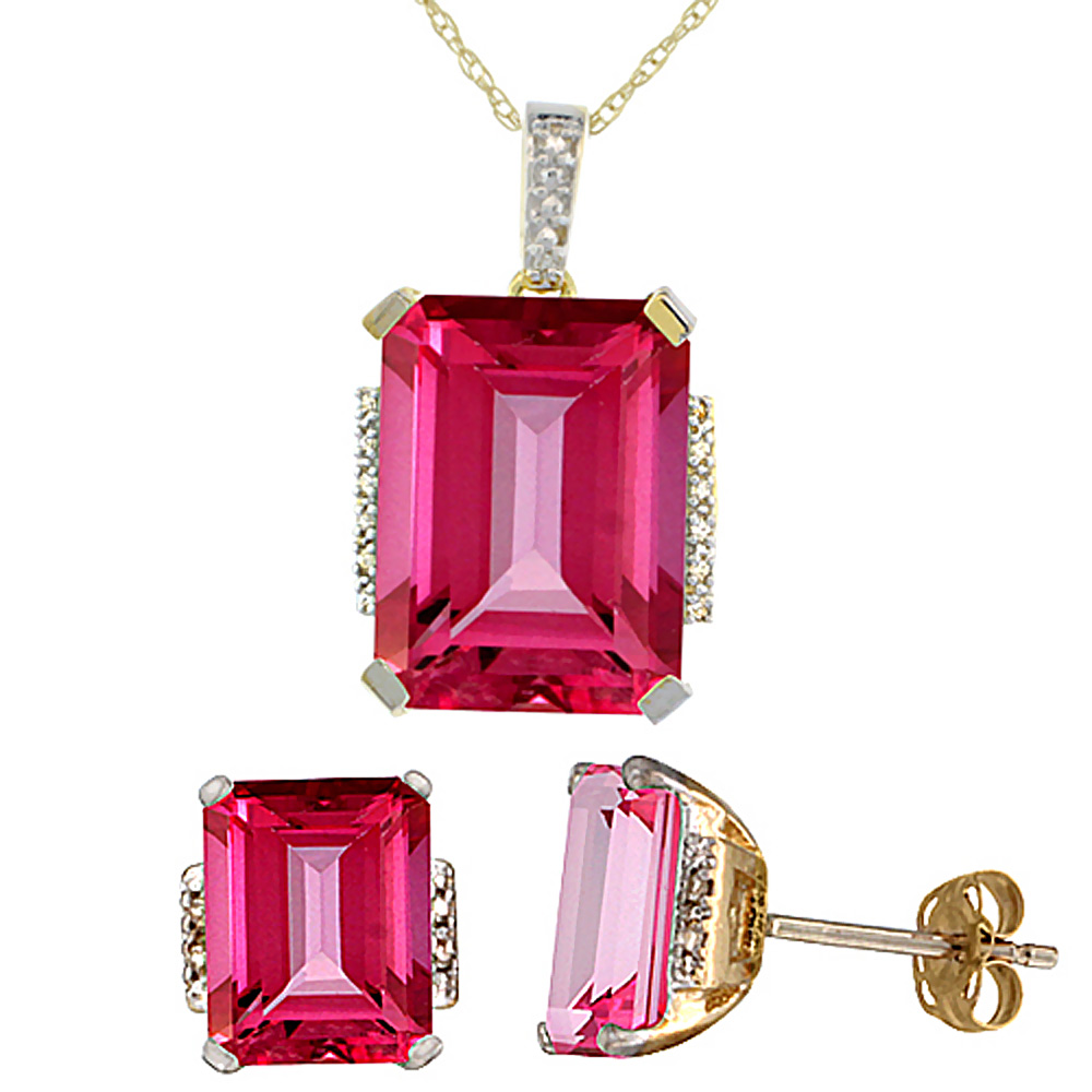 10K Yellow Gold Natural Octagon Pink Topaz Earrings & Pendant Set Diamond Accents