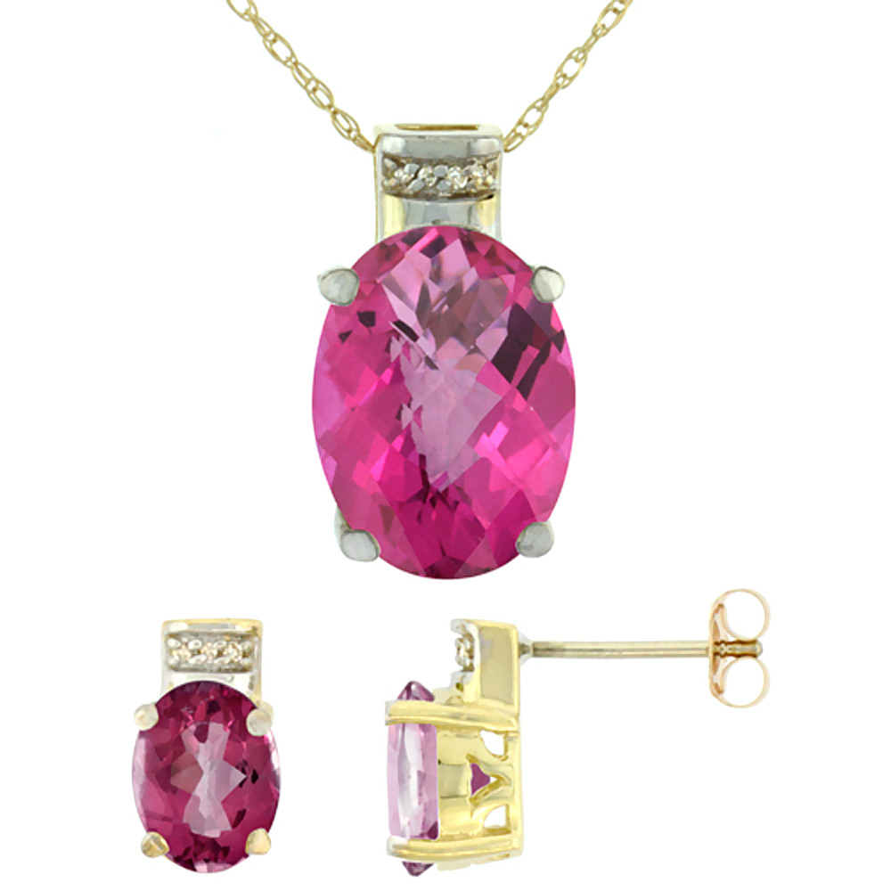 10K Yellow Gold Diamond Natural Oval Pink Topaz Earrings & Pendant Set