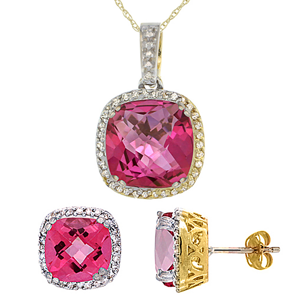 10k Yellow Gold Diamond Halo Natural Pink Topaz Earring Necklace Set 7x7mm & 10x10mm Cushion, 18 inch