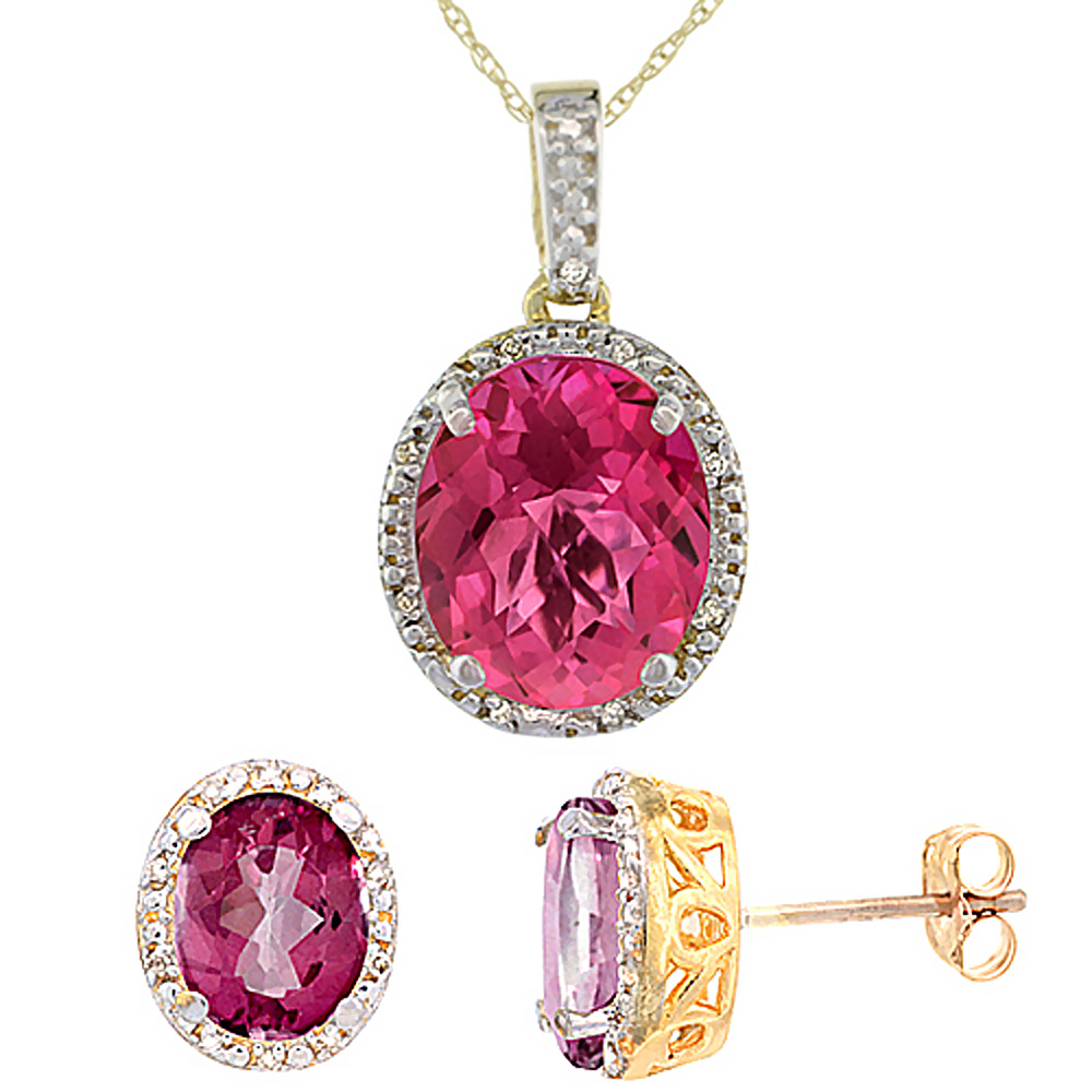 10K Yellow Gold Diamond Natural Pink Topaz Oval Earrings & Pendant Set