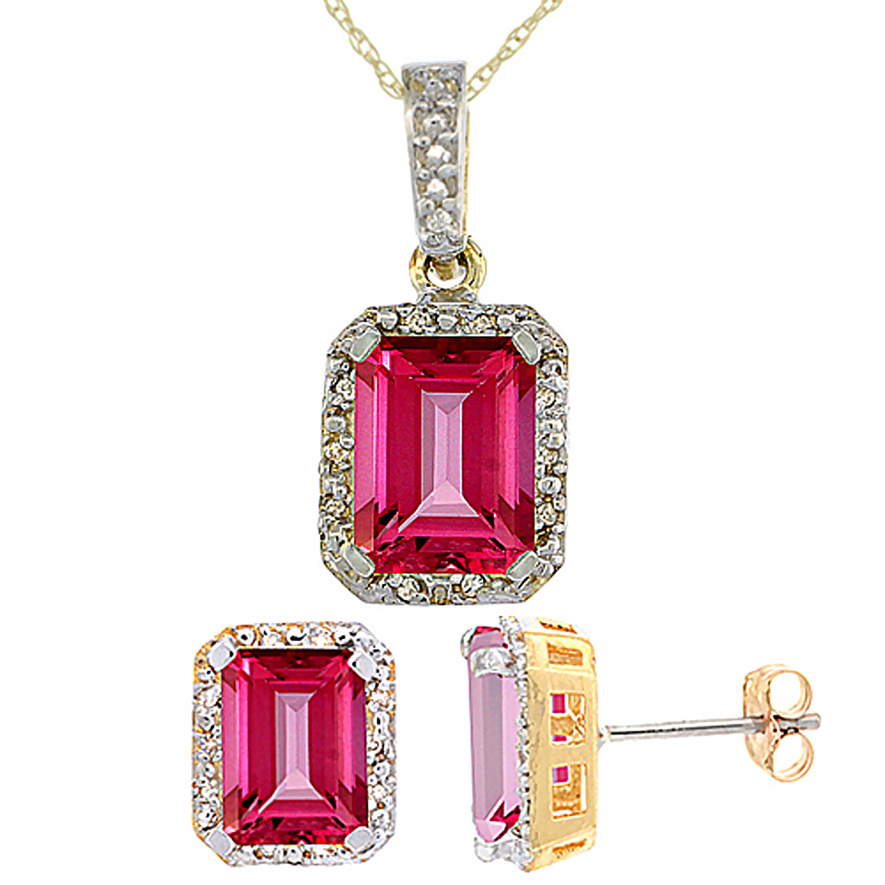 10K Yellow Gold Natural Octagon 8x6 mm Pink Topaz Earrings & Pendant Set Diamond Accents