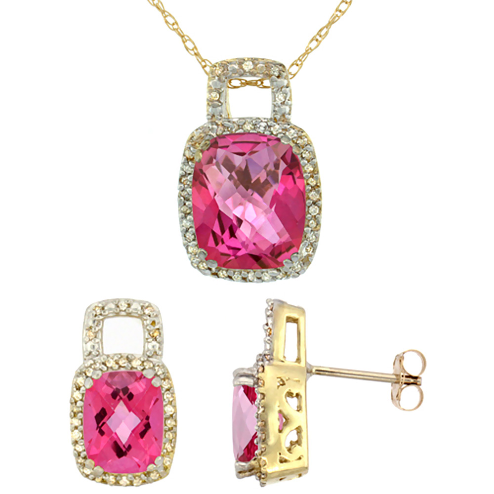 10K Yellow Gold Natural Octagon Cushion Pink Topaz Earrings & Pendant Set Diamond Accents