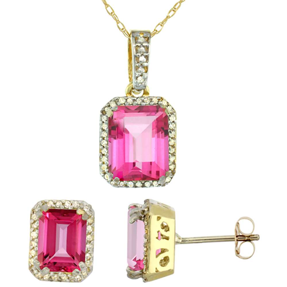10K Yellow Gold Diamond Natural Octagon Pink Topaz Earrings & Pendant Set