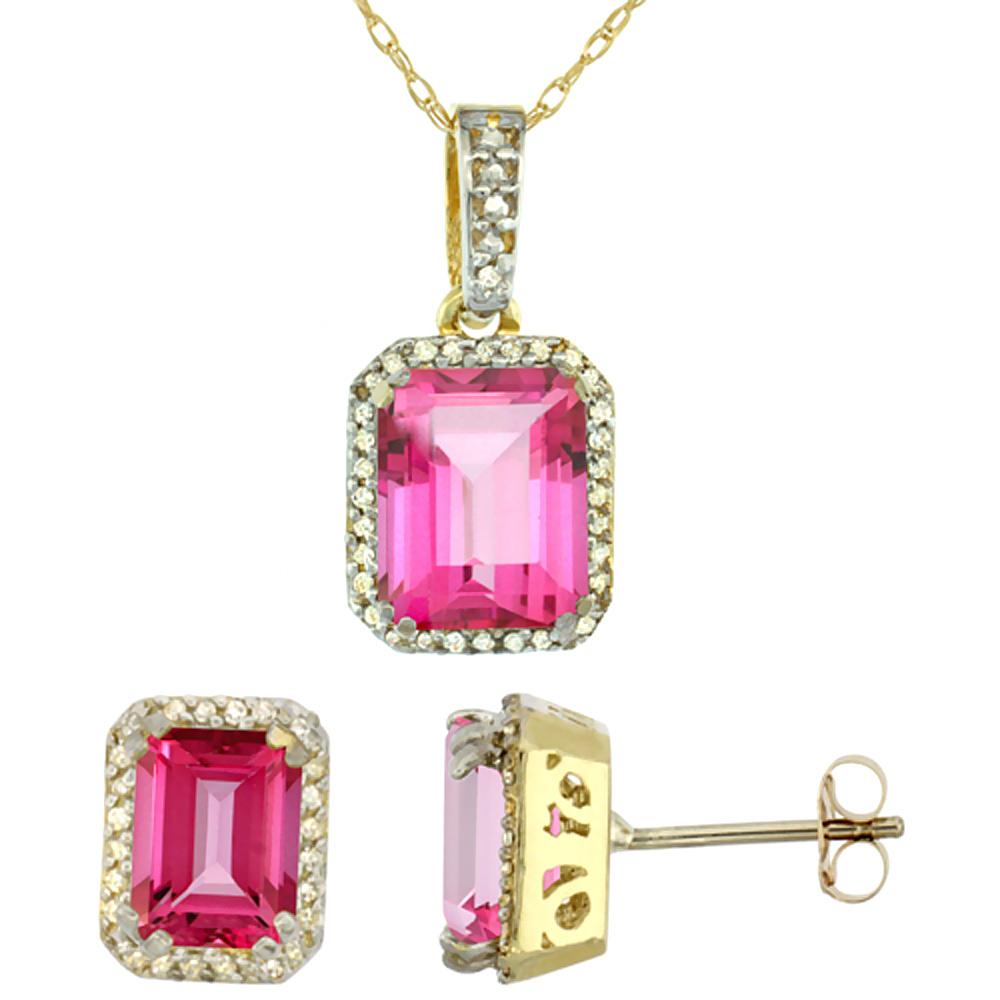 10K Yellow Gold Diamond Natural Octagon Pink Topaz Earrings & Pendant Set