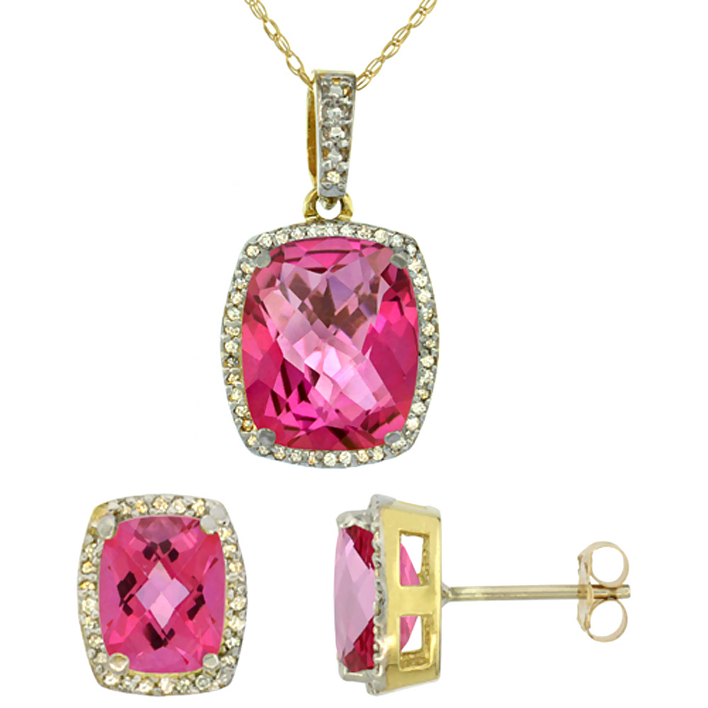 10K Yellow Gold Natural Pink Topaz Octagon Cushion Earrings & Pendant Set