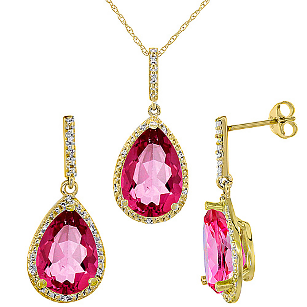 10K Yellow Gold Diamond Natural Pink Topaz Earrings Necklace Set Pear Shaped 12x8mm & 15x10mm, 18 inch