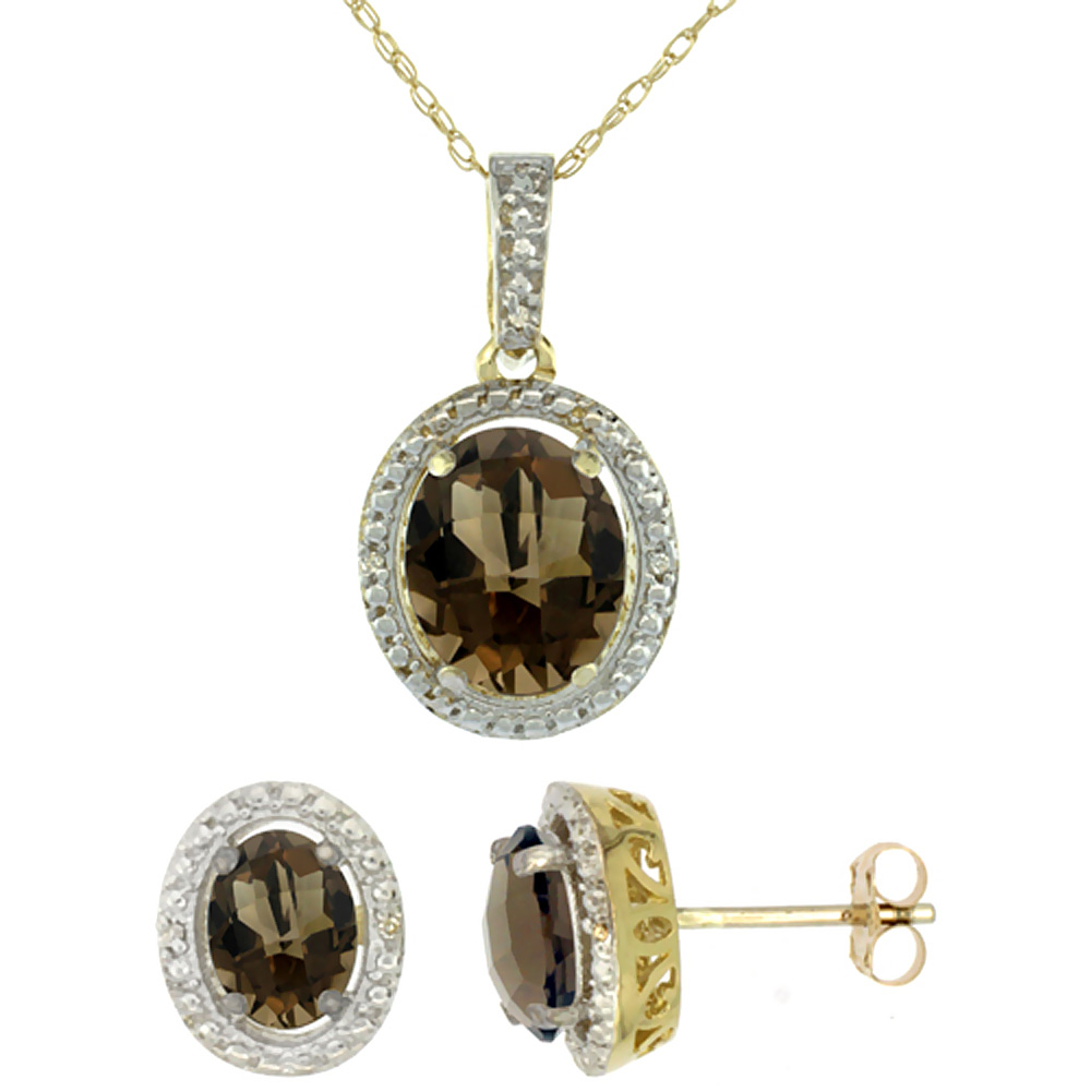10K Yellow Gold Diamond Natural Smoky Topaz Oval Earrings & Pendant Set