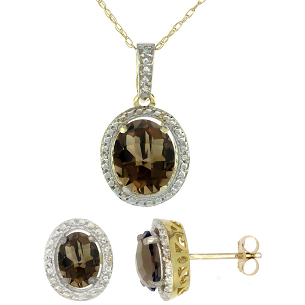 10K Yellow Gold Diamond Natural Smoky Topaz Oval Earrings & Pendant Set