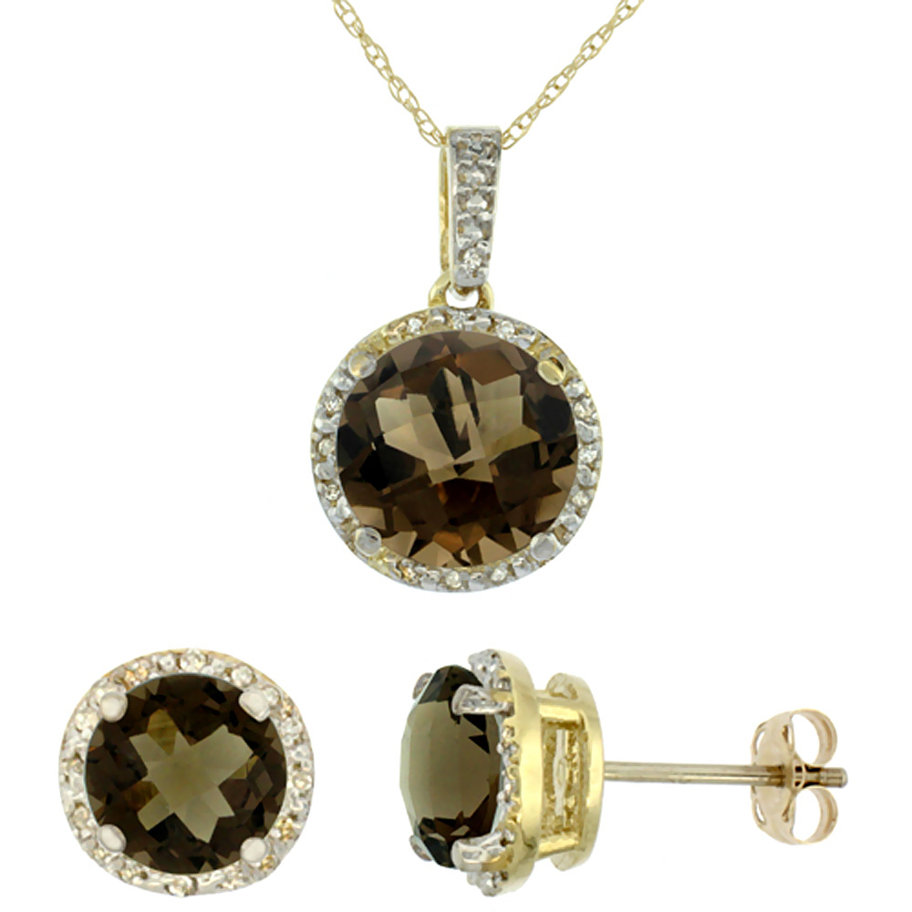 10K Yellow Gold Natural Round Smoky Topaz Earrings & Pendant Set Diamond Accents