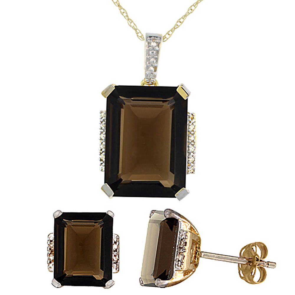10K Yellow Gold Natural Octagon Smoky Topaz Earrings & Pendant Set Diamond Accents