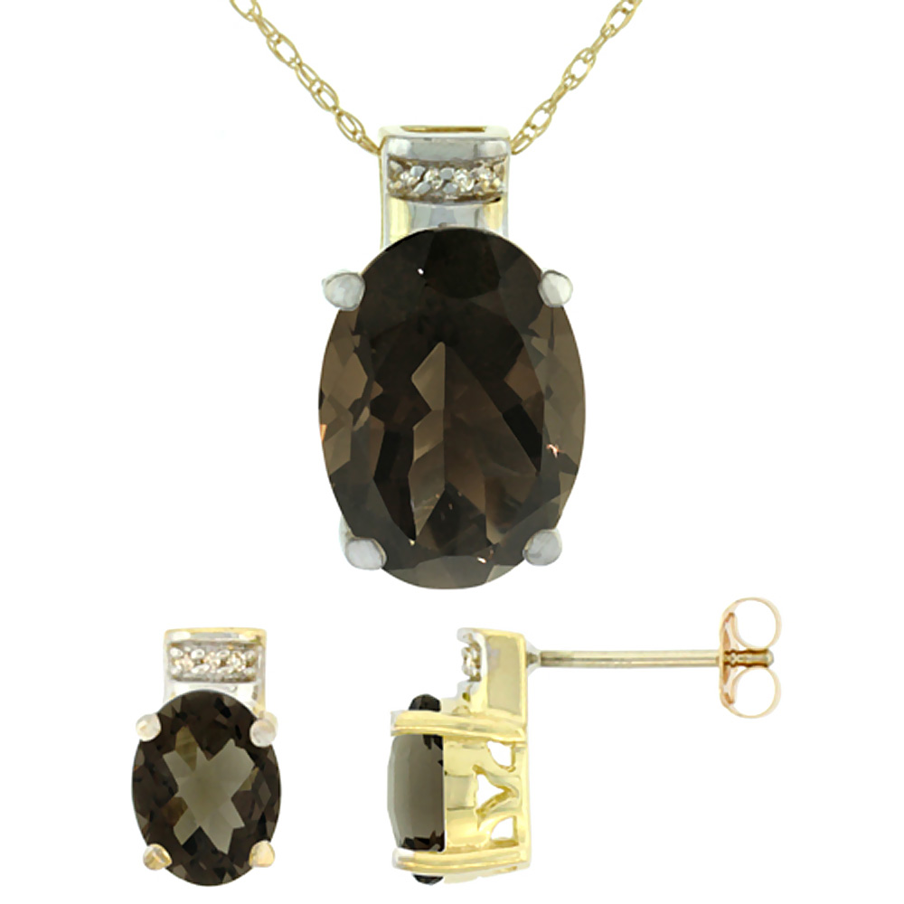 10K Yellow Gold Diamond Natural Oval Smoky Topaz Earrings & Pendant Set