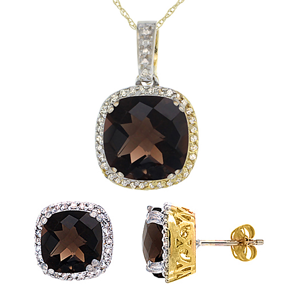 10K Yellow Gold Natural Cushion Smoky Topaz Earrings & Pendant Set Diamond Accents