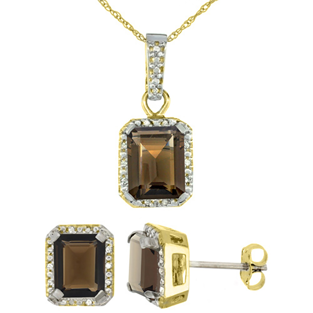 10K Yellow Gold Natural Octagon 8x6 mm Smoky Topaz Earrings & Pendant Set Diamond Accents