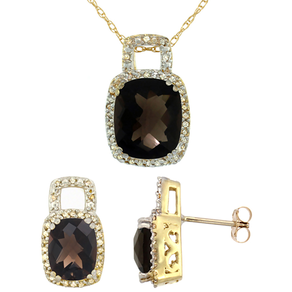 10K Yellow Gold Natural Octagon Cushion Smoky Topaz Earrings & Pendant Set Diamond Accents