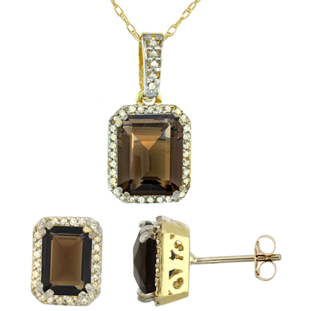 10K Yellow Gold Diamond Natural Octagon Smoky Topaz Earrings & Pendant Set