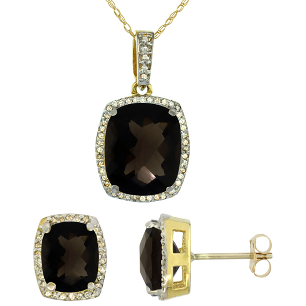 10K Yellow Gold Natural Smoky Topaz Octagon Cushion Earrings & Pendant Set