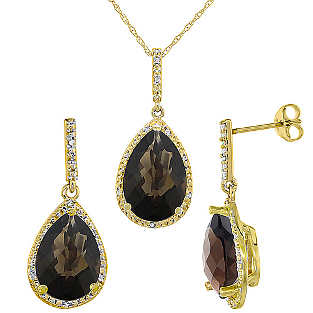 10K Yellow Gold Diamond Natural Smoky Topaz Pear Shape Pendant & Earrings Set