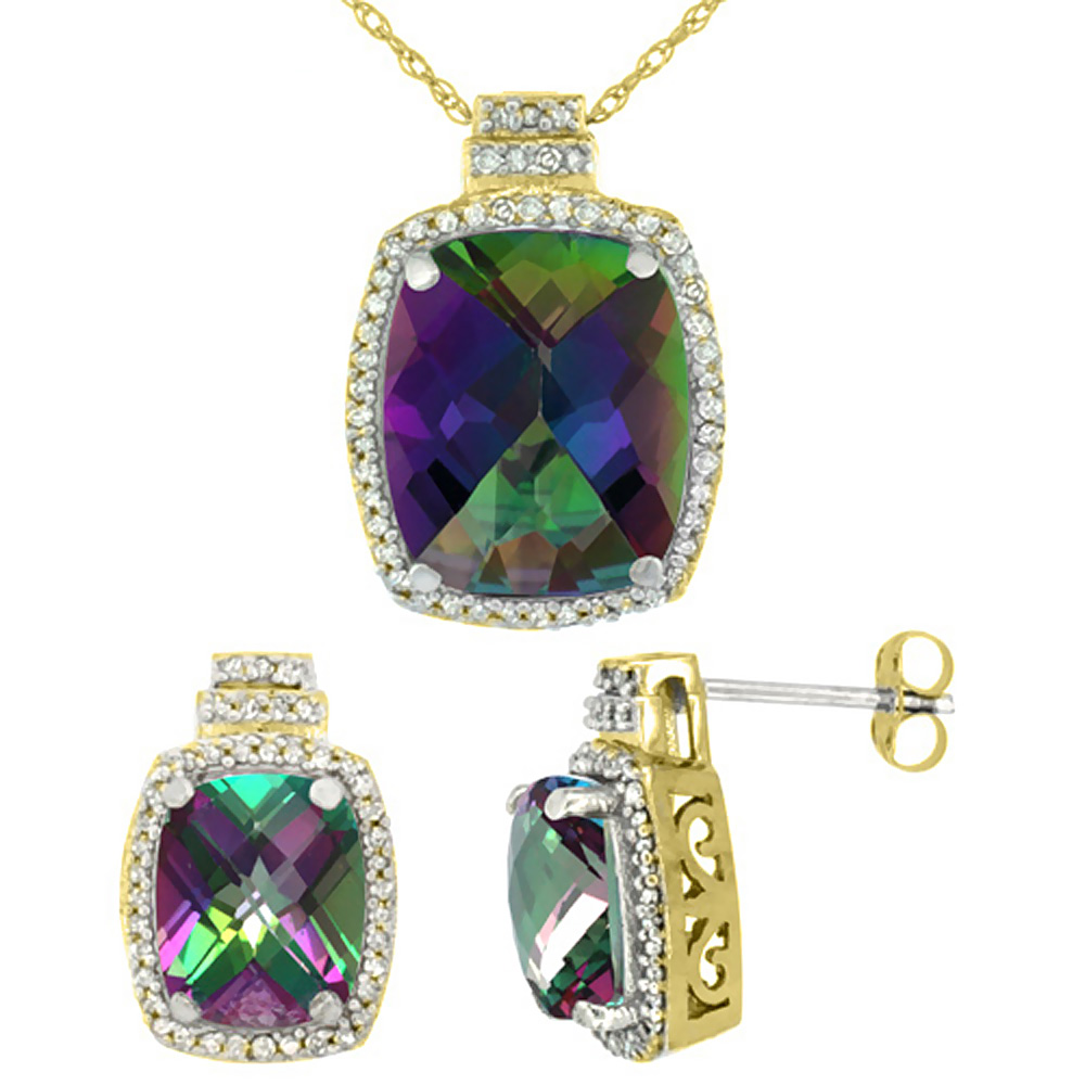 10K Yellow Gold Diamond Natural Mystic Topaz 8x6mm Earrings & 11x9mm Pendant Set Octagon Cushion
