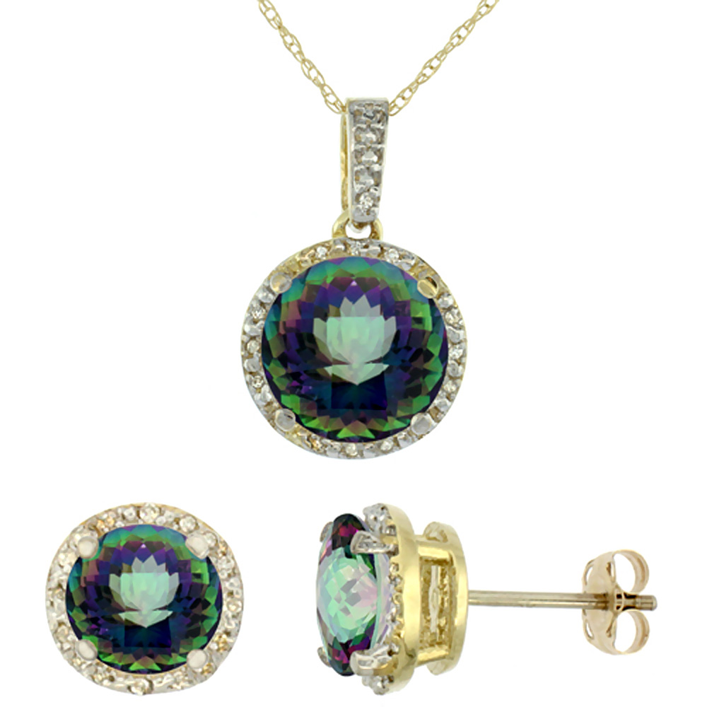 10K Yellow Gold Natural Round Mystic Topaz Earrings & Pendant Set Diamond Accents