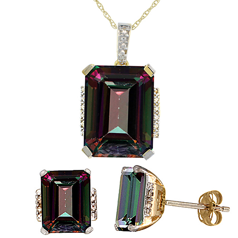 10K Yellow Gold Natural Octagon Mystic Topaz Earrings & Pendant Set Diamond Accents