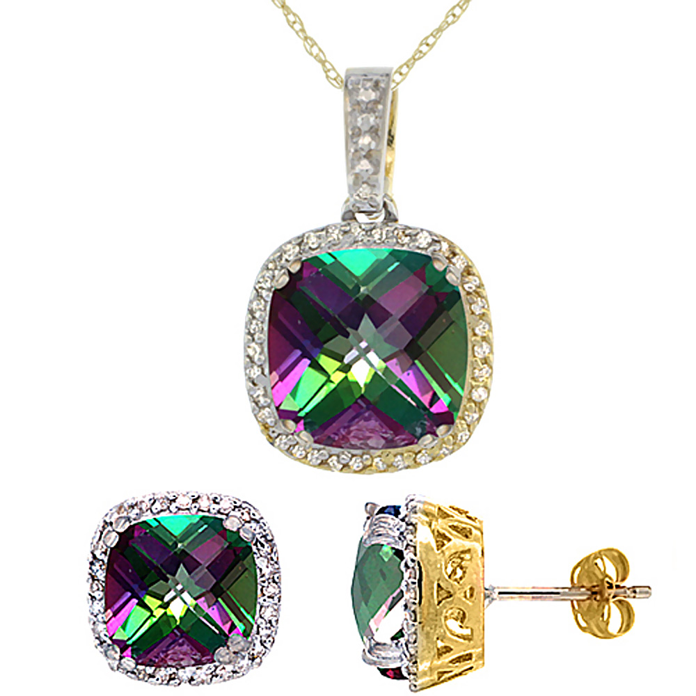 10K Yellow Gold Natural Cushion Mystic Topaz Earrings & Pendant Set Diamond Accents