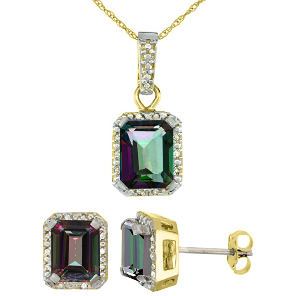 10K Yellow Gold Natural Octagon 8x6 mm Mystic Topaz Earrings & Pendant Set Diamond Accents