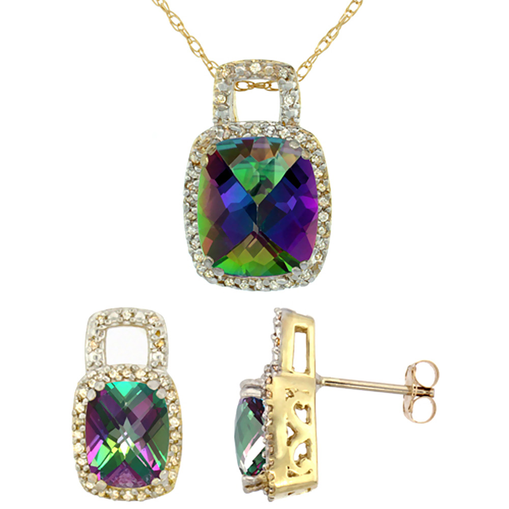 10K Yellow Gold Natural Octagon Cushion Mystic Topaz Earrings & Pendant Set Diamond Accents