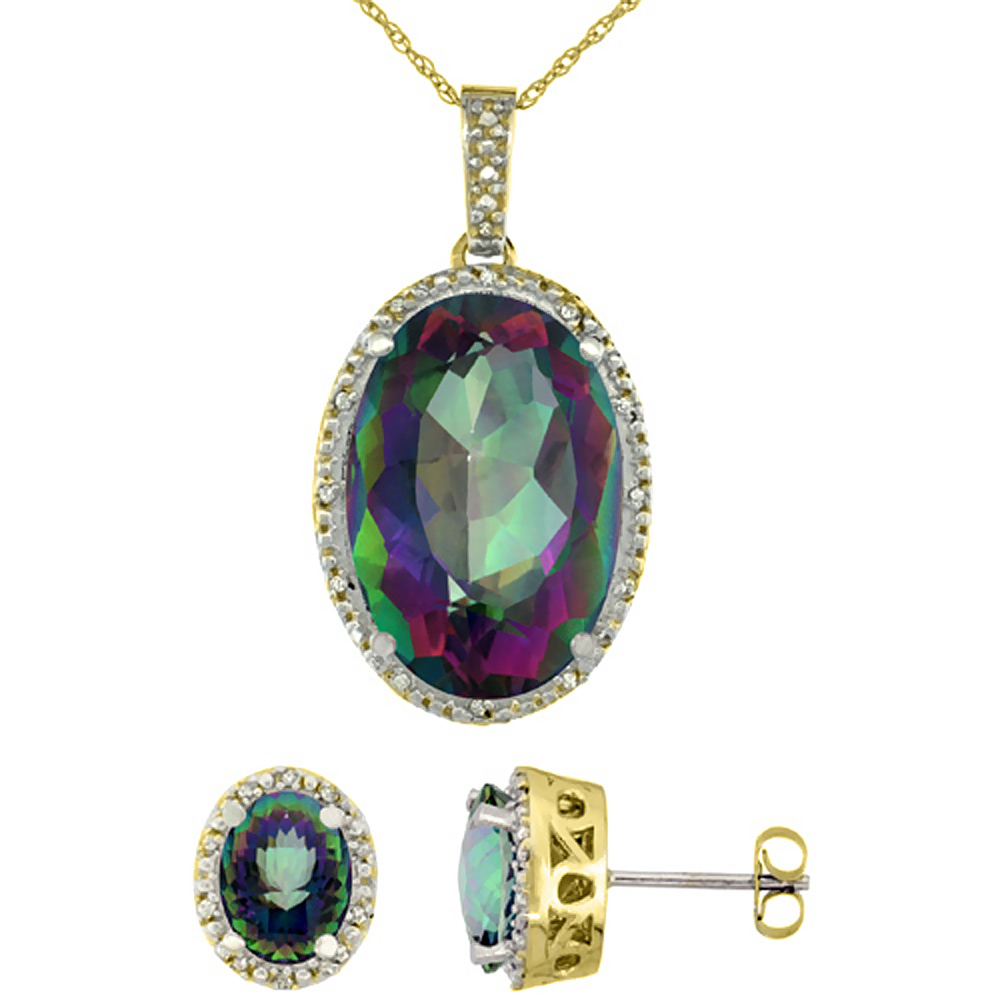 10K Yellow Gold Diamond Natural Oval Mystic Topaz Earrings & Pendant Set