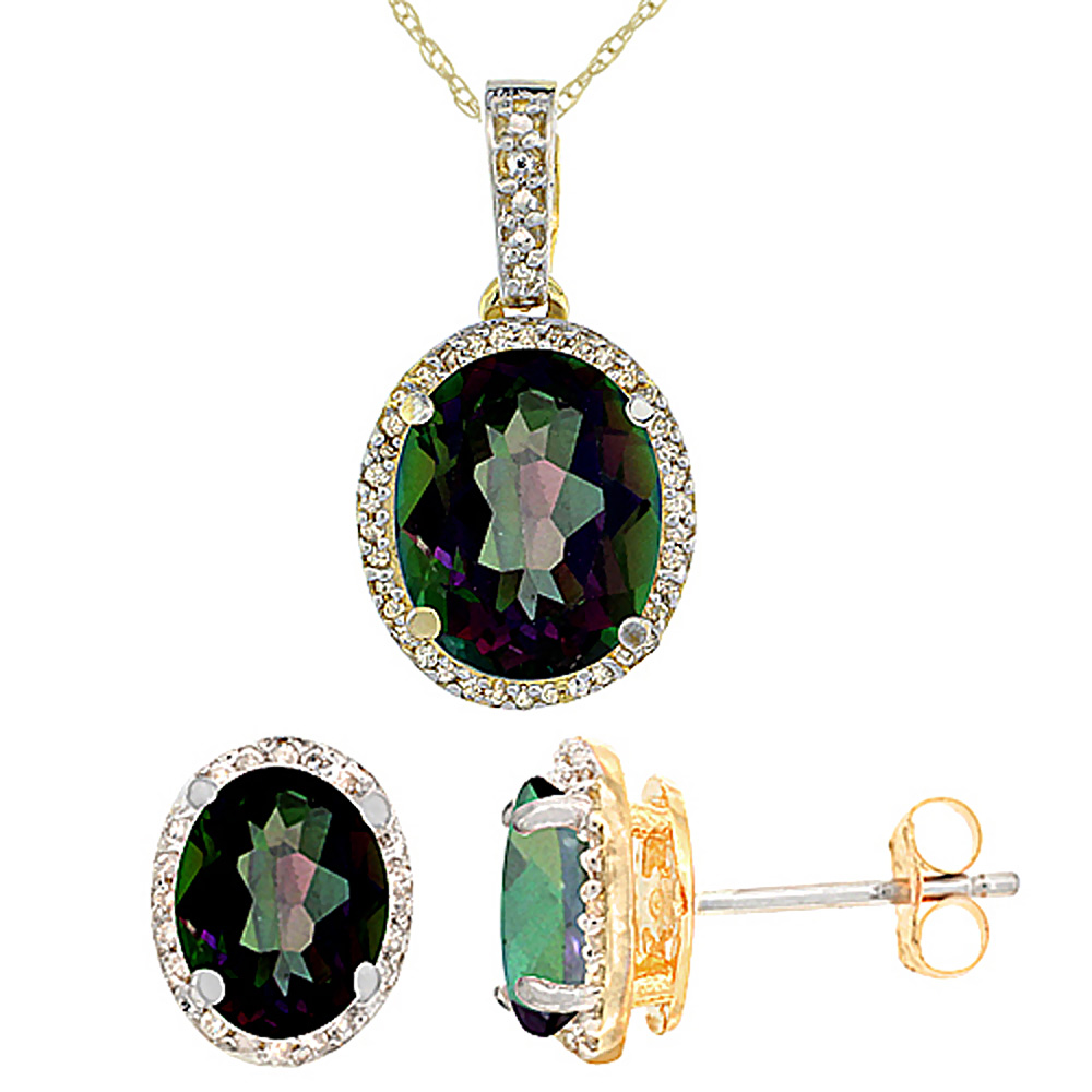 10K Yellow Gold Diamond Natural Mystic Topaz Oval Earrings & Pendant Set