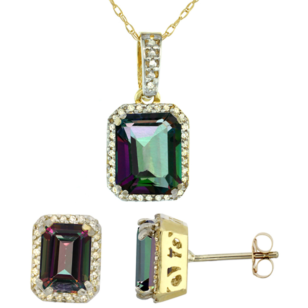 10K Yellow Gold Diamond Natural Octagon Mystic Topaz Earrings & Pendant Set