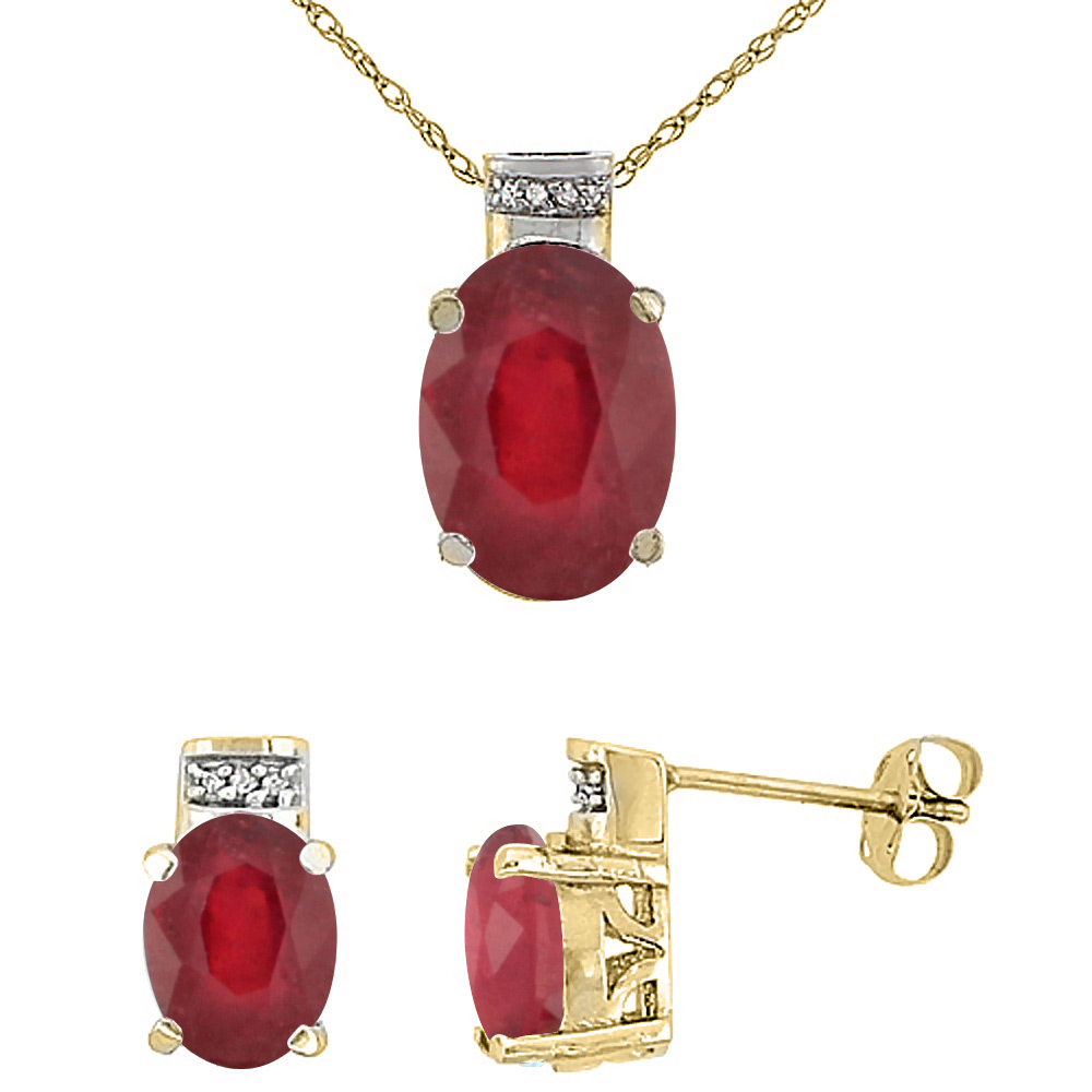 10K Yellow Gold Diamond Natural Oval Enhanced Genuine Ruby Ruby Earrings & Pendant Set