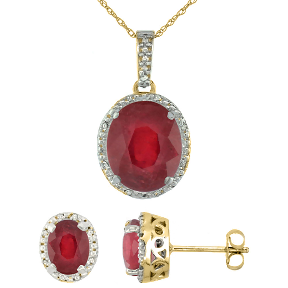 10K Yellow Gold Diamond Halo Enhanced Genuine Ruby Earrings Necklace Set Oval 7x5mm & 12x10mm, 18 inch