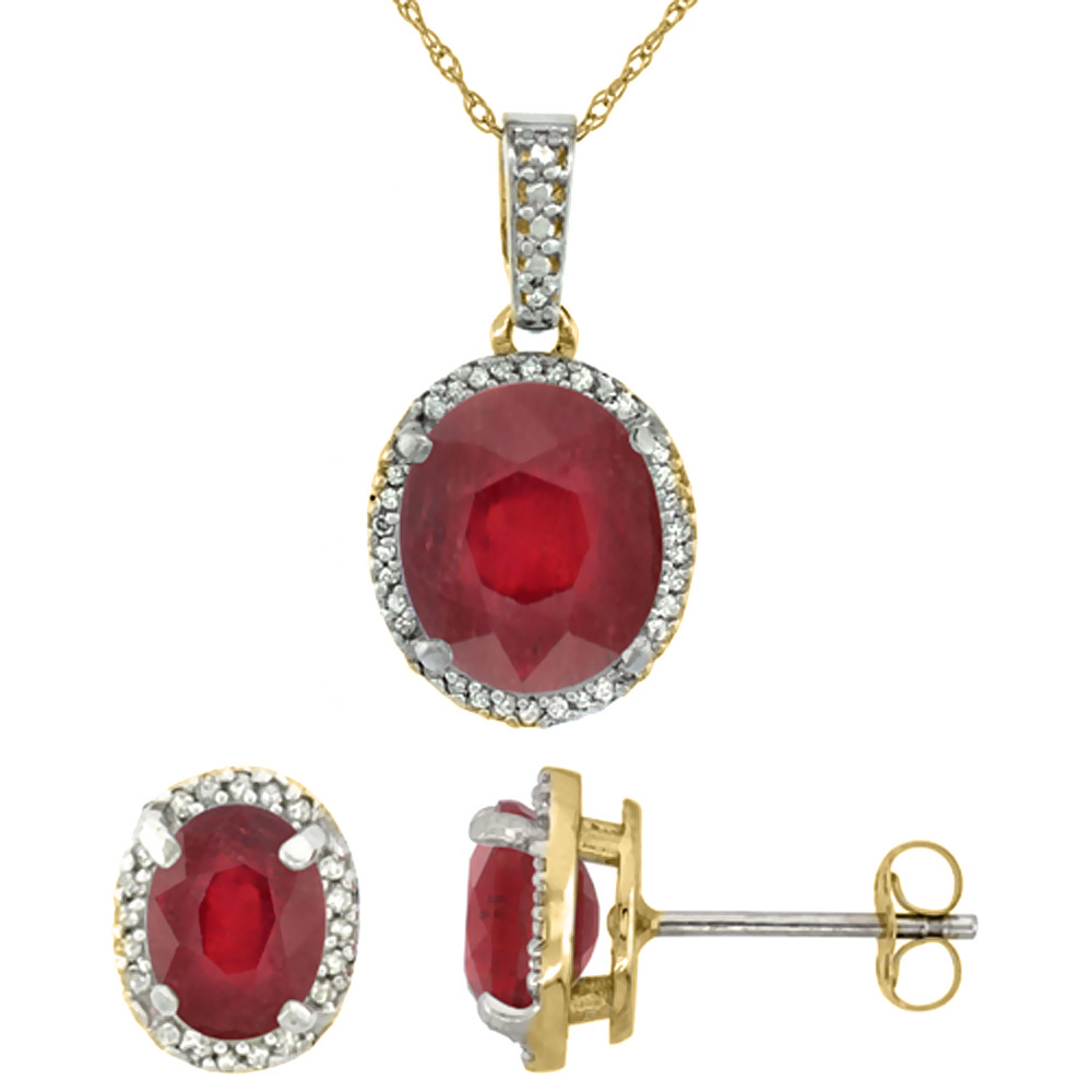 10K Yellow Gold Diamond Enhanced Genuine Ruby Oval Earrings & Pendant Set