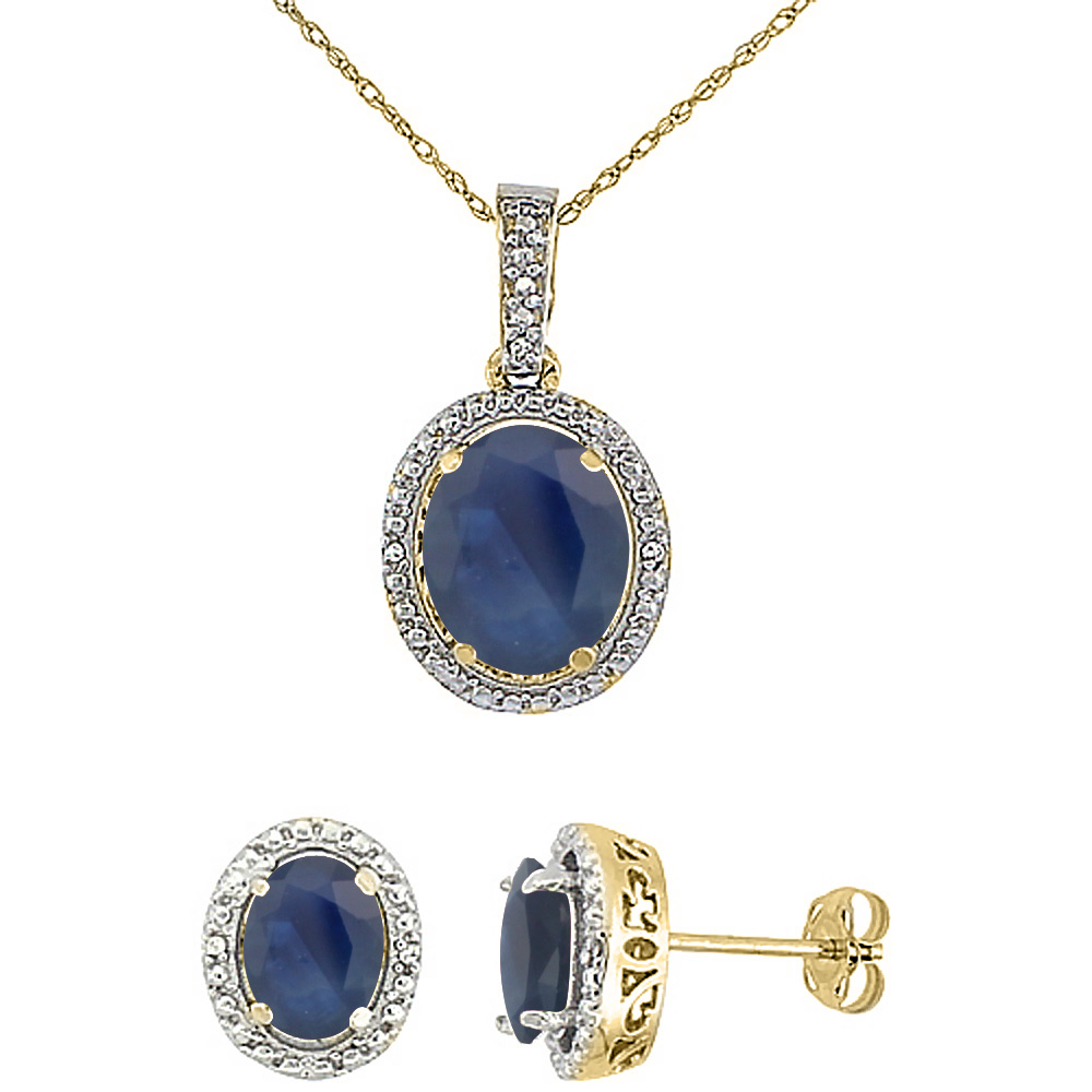 10K Yellow Gold Diamond Natural Blue Sapphire Oval Earrings & Pendant Set