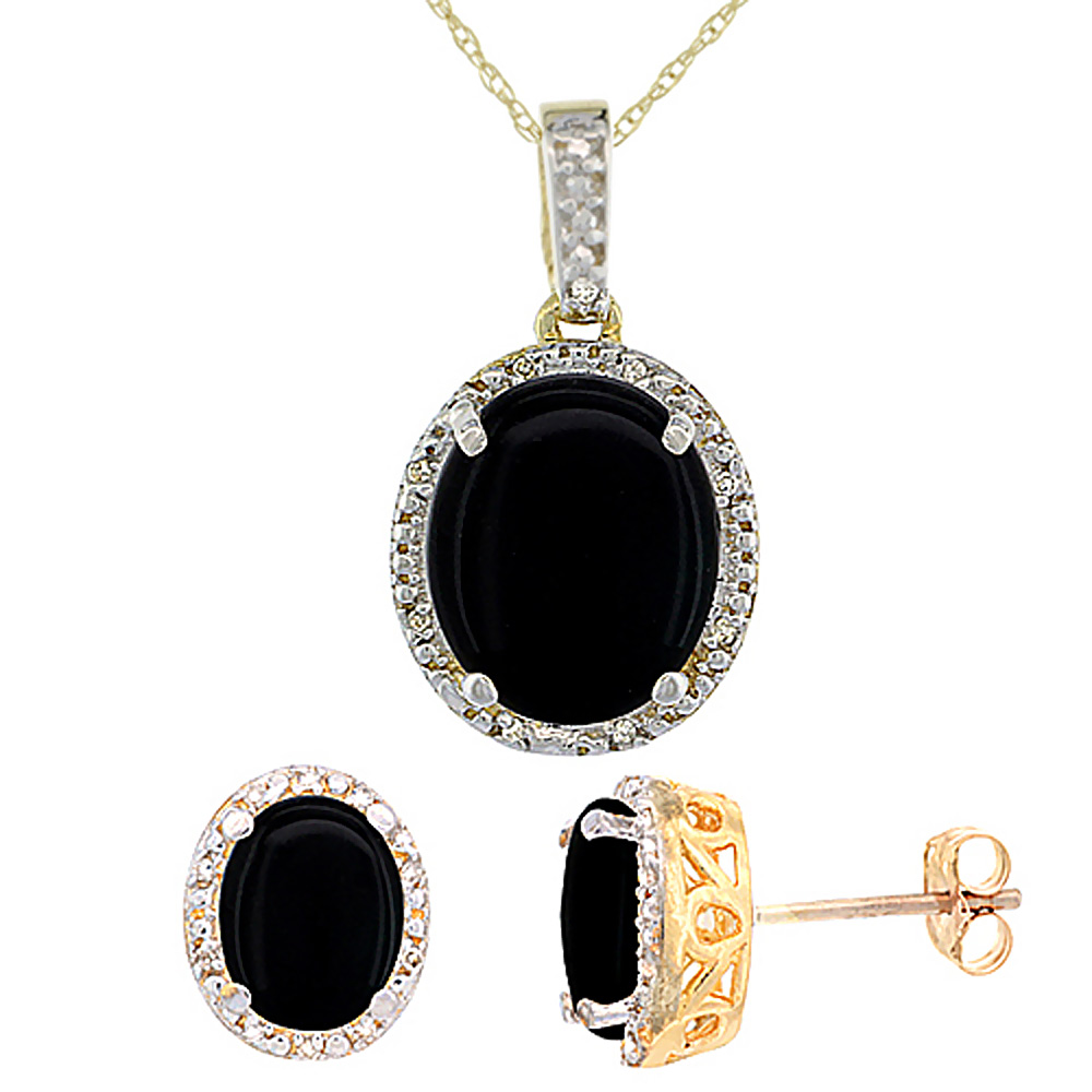 10K Yellow Gold Diamond Halo Natural Black Onyx Earrings Necklace Set Oval 7x5mm & 12x10mm, 18 inch