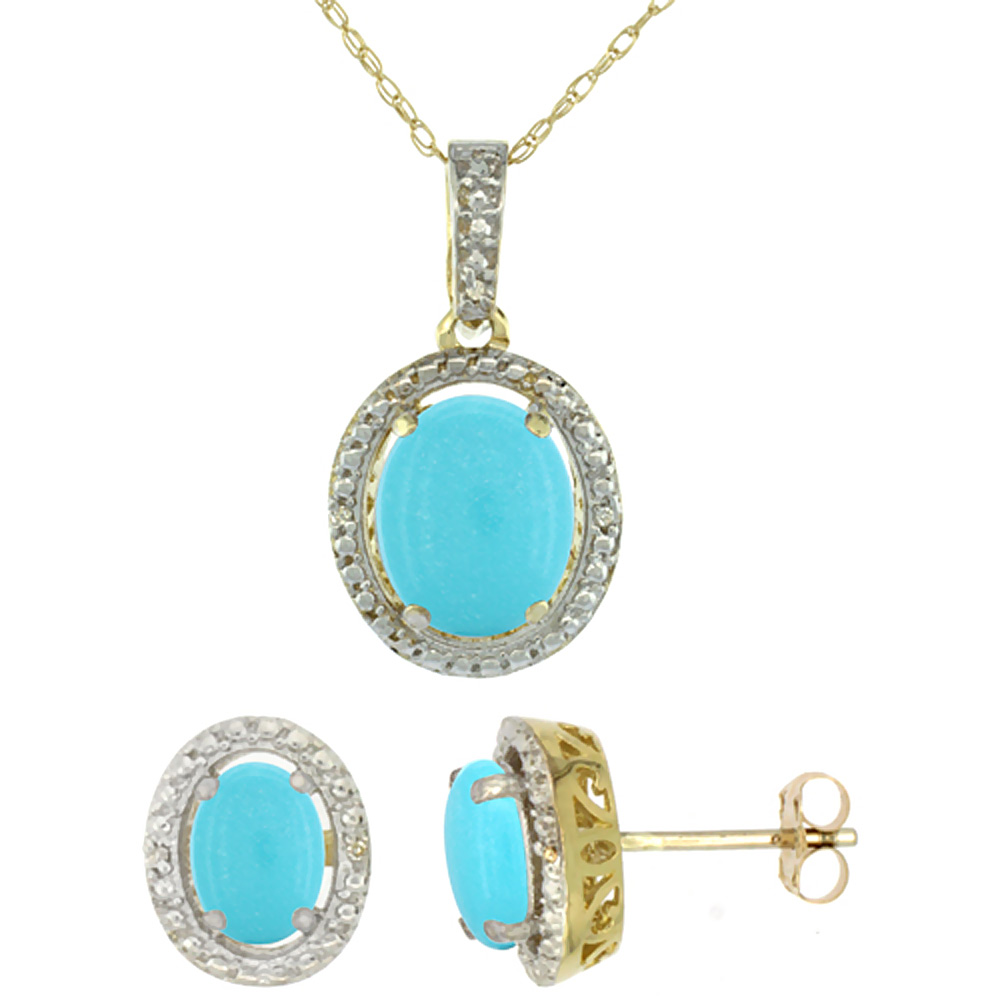 10K Yellow Gold Diamond Natural Turquoise Oval Earrings & Pendant Set