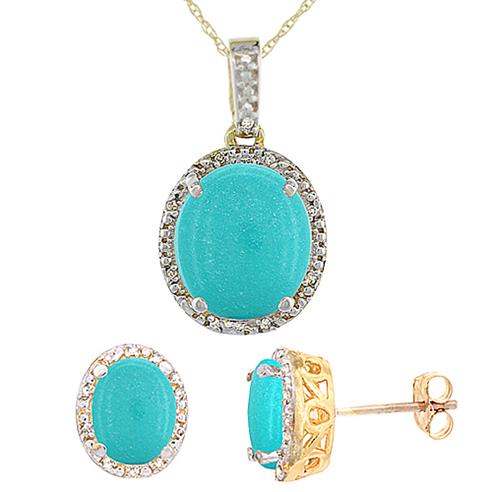 10K Yellow Gold Diamond Halo Natural Turquoise Earrings Necklace Set Oval 7x5mm & 12x10mm, 18 inch