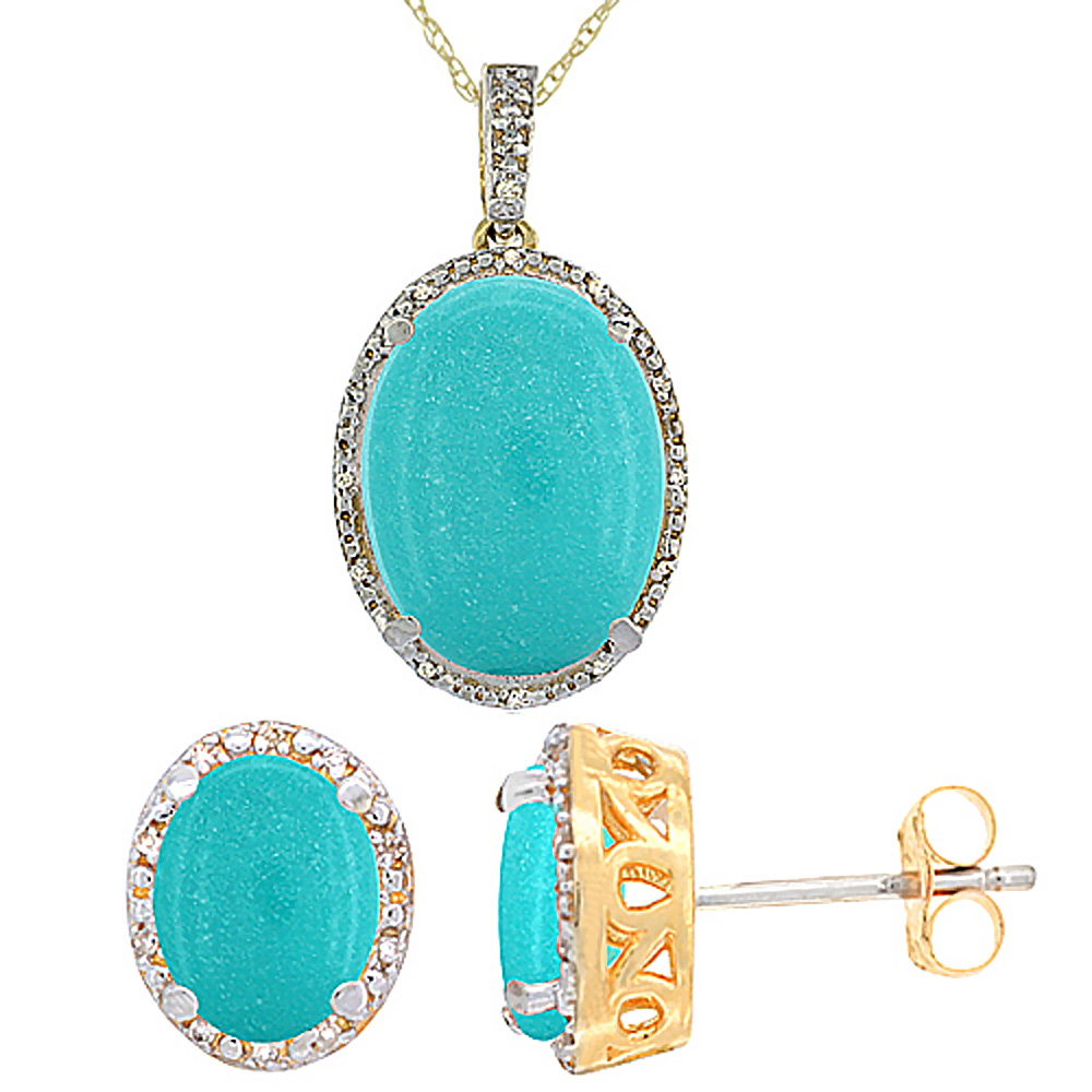 10K Yellow Gold Diamond Natural Oval Turquoise Earrings & Pendant Set