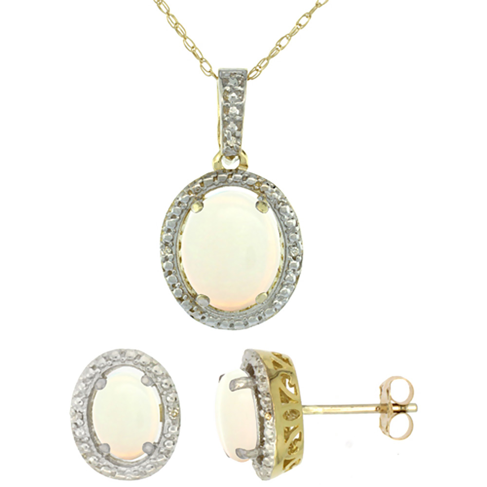 10K Yellow Gold Diamond Natural Opal Oval Earrings & Pendant Set