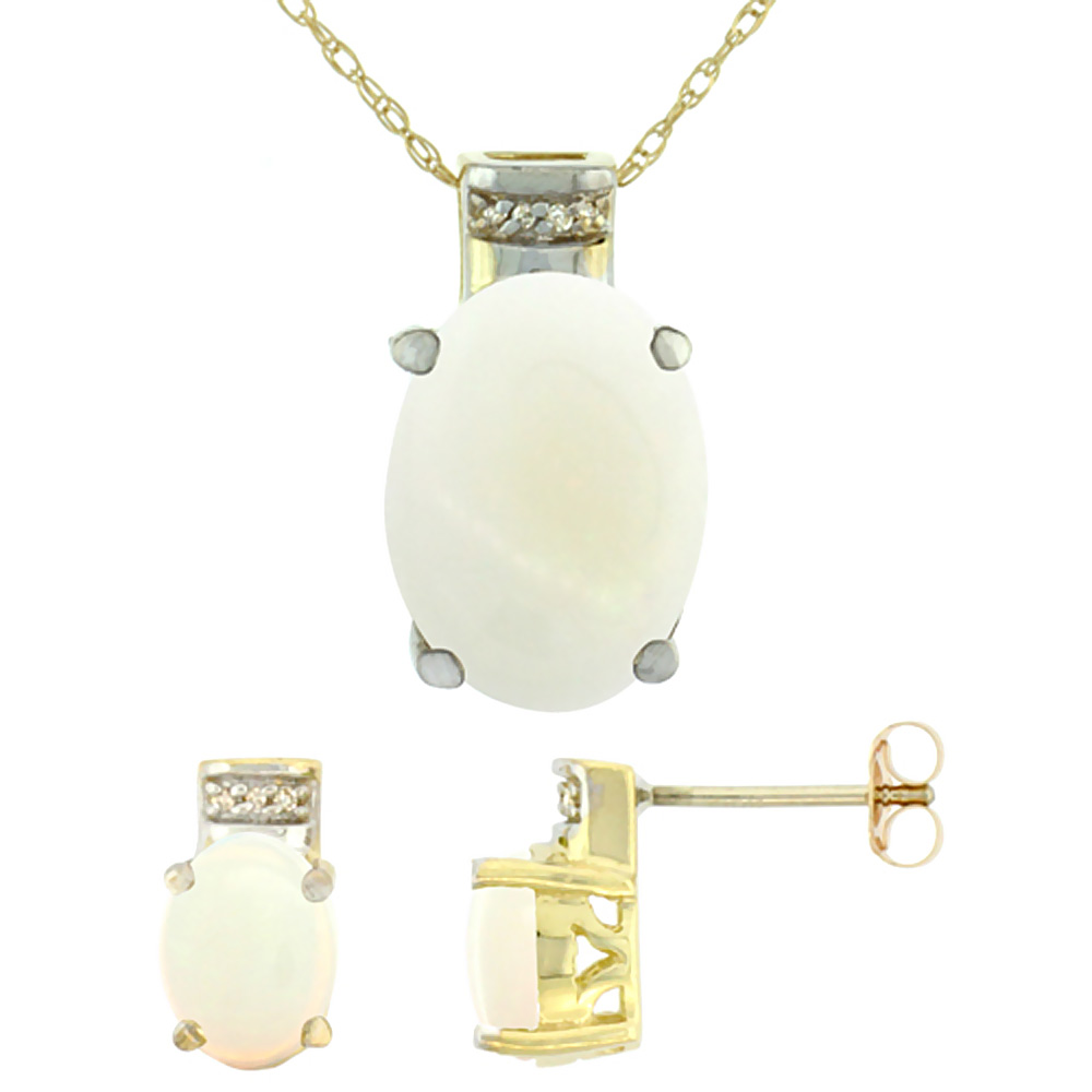 10K Yellow Gold Diamond Natural Oval Opal Earrings & Pendant Set
