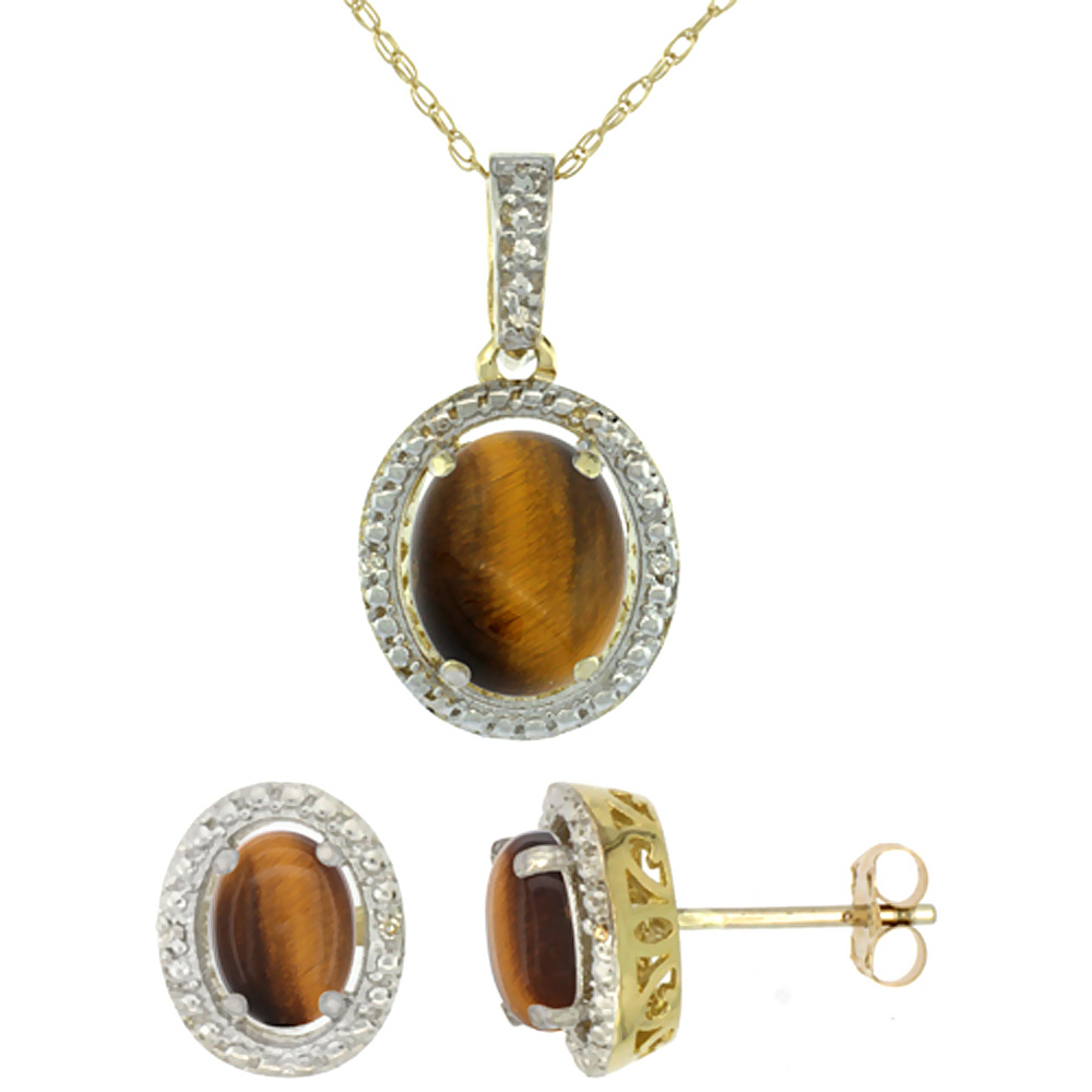 10K Yellow Gold Diamond Natural Tiger Eye Oval Earrings & Pendant Set