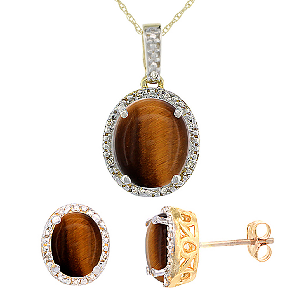 10K Yellow Gold Diamond Halo Natural Tiger Eye Earrings Necklace Set Oval 7x5mm & 12x10mm, 18 inch