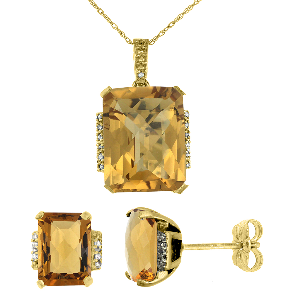 10K Yellow Gold Natural Octagon Whisky Quartz Earrings & Pendant Set Diamond Accents