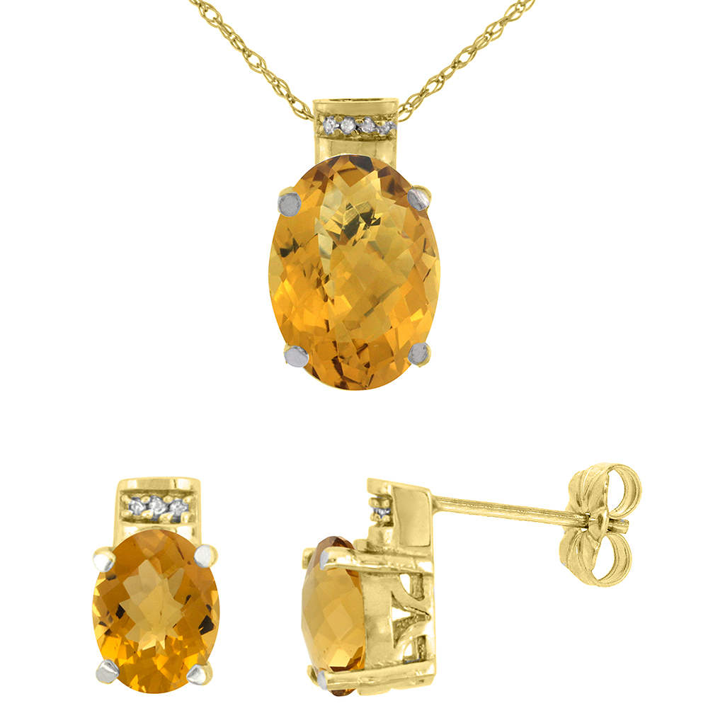10K Yellow Gold Diamond Natural Oval Whisky Quartz Earrings & Pendant Set
