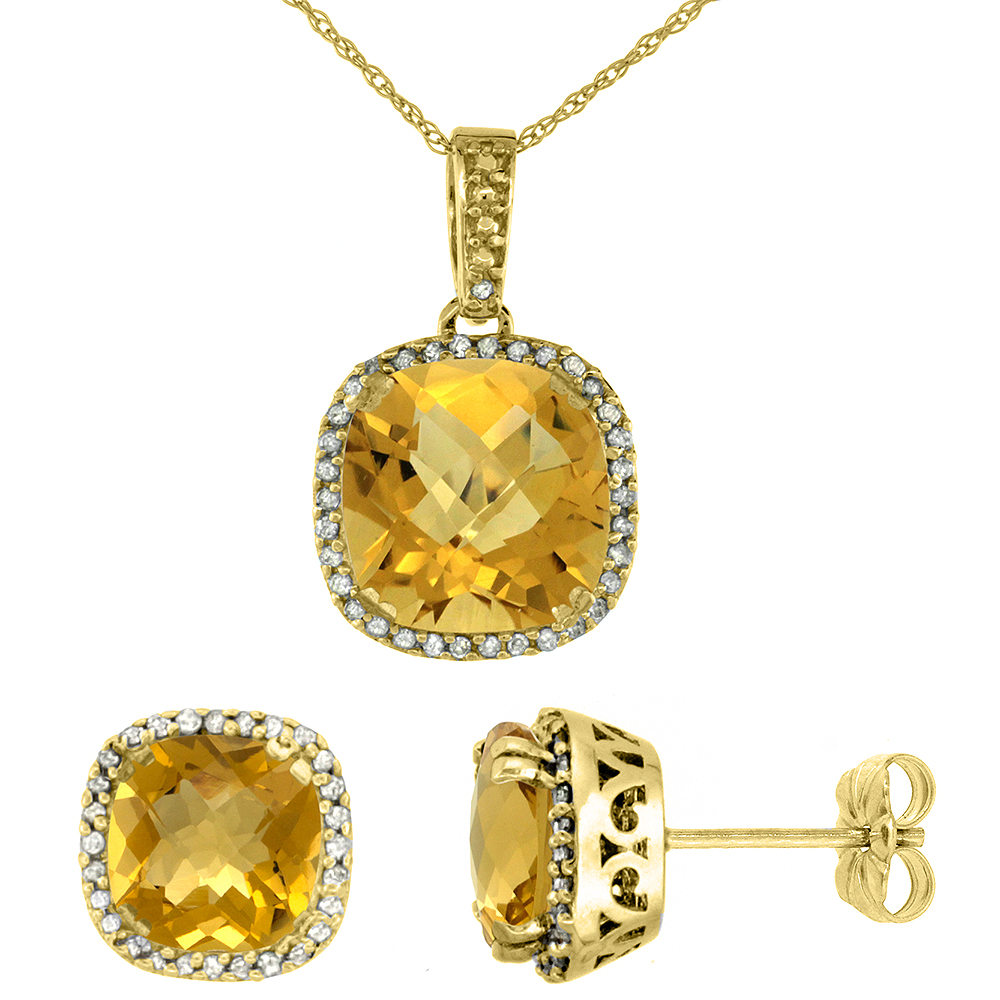 10k Yellow Gold Diamond Halo Natural Whisky Quartz Earring Necklace Set 7x7mm & 10x10mm Cushion, 18 inch