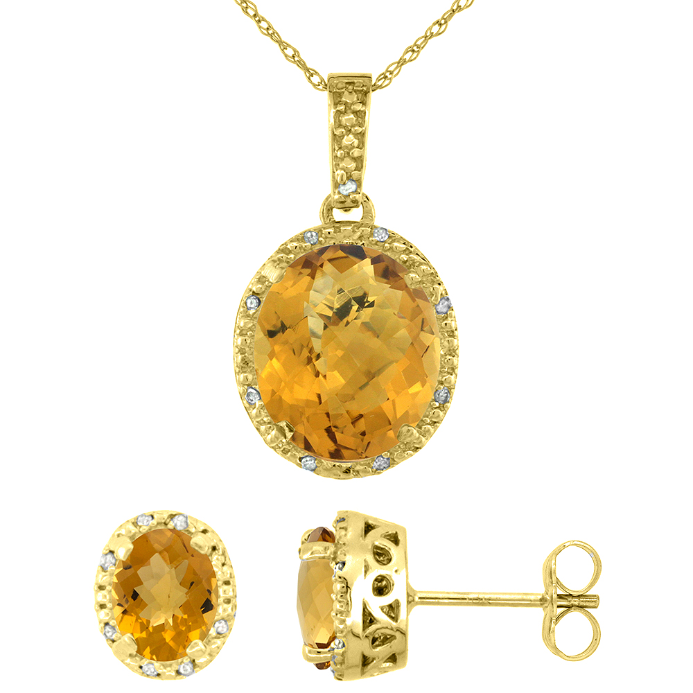 10K Yellow Gold Diamond Halo Natural Whisky Quartz Earrings Necklace Set Oval 7x5mm & 12x10mm, 18 inch