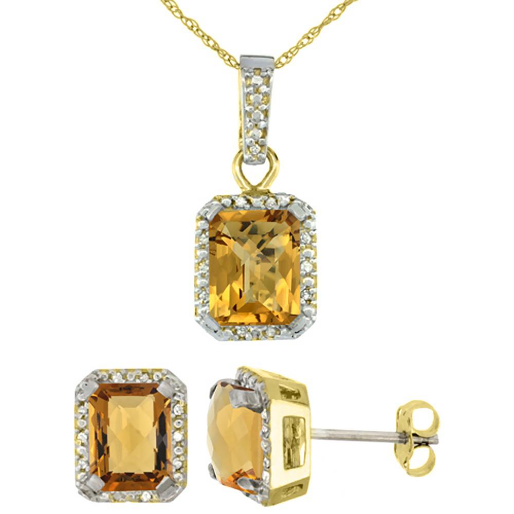 10K Yellow Gold Natural Octagon 8x6 mm Whisky Quartz Earrings & Pendant Set Diamond Accents