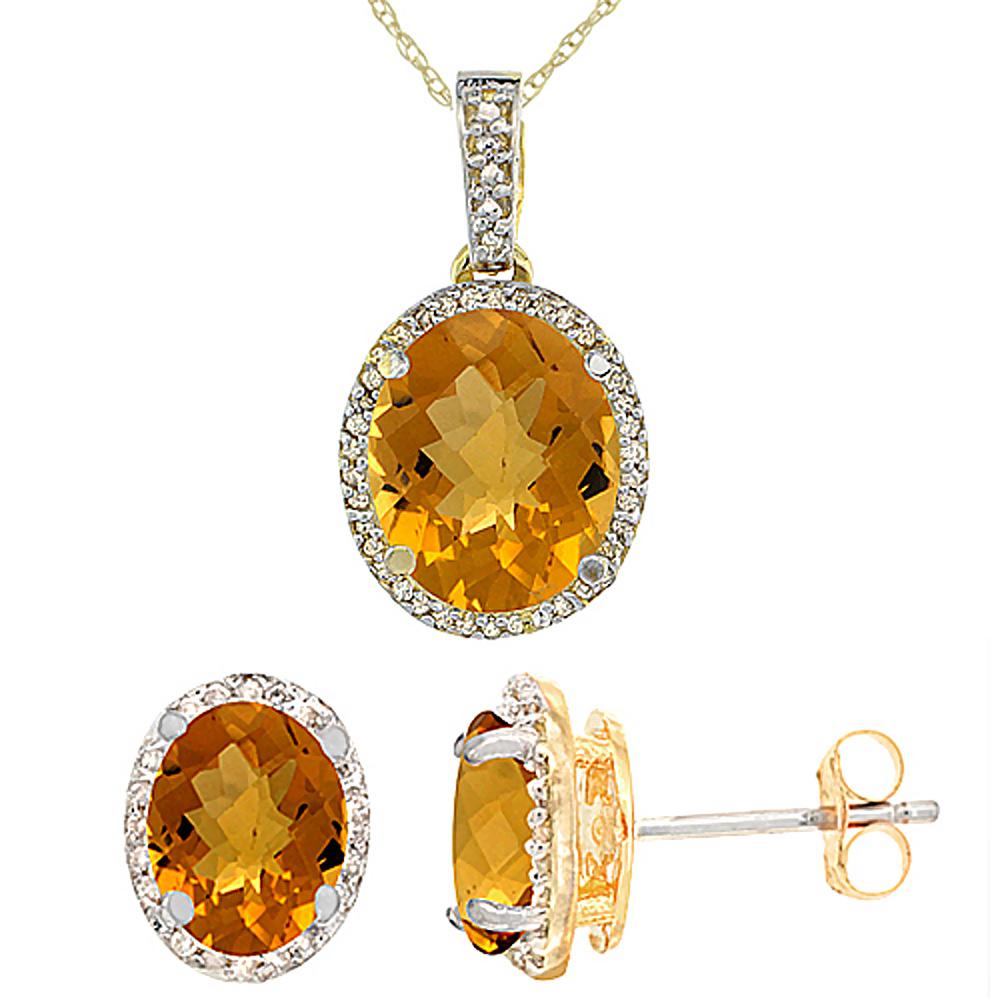 10K Yellow Gold Diamond Natural Whisky Quartz Oval Earrings & Pendant Set